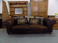 Brown Leather & Fabric Tetrad Degas Midi 2-3 Seater Sofa