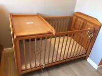 Cot bed with mattress and Top Changer Solid Pine