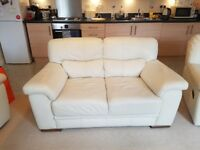 Leather cream sofa + 2 recliner chairs, very good condition *can deliver Saturday 28th gosport!