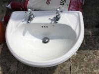 Semi recessed basin inc chrome taps