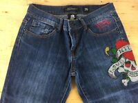 Women's Ed Hardy Jeans Size 28 W28 L32 Blue Beautifully Embroiled Design