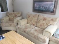 2 SEATER FABRIC SOFA, 1 CHAIR AND 1 FOOT STOOL
