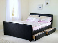 Black leather kingsize bed including drawers for sale, household clearance