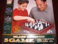 3 GAME SET Glass & wood - Chess, Checkers, Backgammon