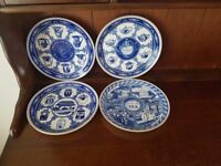 Ringtons willow pattern collectors plates
