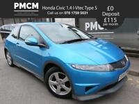 HONDA CIVIC 2010 1.4 I-VTEC TYPE S - LOW MILES - LONG MOT - LOW INSURANCE - focus astra golf 2010