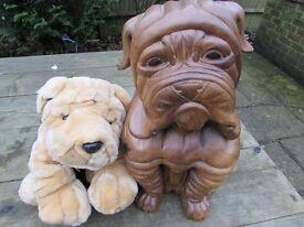 Carved Wooden Model Of Shar Pei Dog