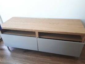 IKEA Besta TV Stand with Drawers - Oak effect/High Gloss Beige