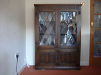 Old Charm Carved Oak Leaded Bookcase / Cabinet On Cupboard
