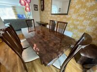 Brown Marble Dining Room Set - 6 Chairs, Dining Table, Sideboard, Console Table and Lamp Table