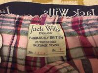 Jack Wills pink tartan pyjama bottoms size 8