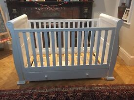 White Sleigh Cot with Drawer