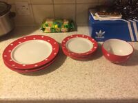 Red and white dots dinner set plates and bowl