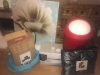 Bundle, canvas picture teal, red bin, cushion and runner set, bread bin set, 12 piece dinner set