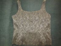 Fab quality greeny/gold vest style top, size 16/18 - Vintage!