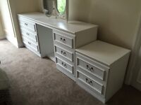 Lovely white dressing table and two chests of drawers with separate mirror