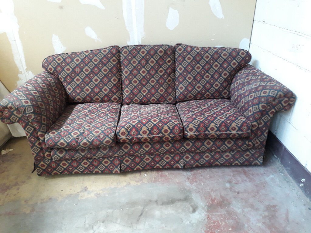 3 seater patterned cloth sofa
