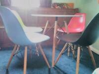 Retro round table and 4 chairs Table few age related marks. Chairs good condition.