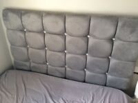 Grey suede effect small double headboard with gems