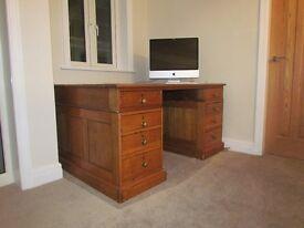 Lovely oak twin pedestal desk