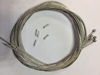 Cycle / bike gear wire. Stainless steel 1.2 x 2000mm. Small barrel type including chrome cable ends