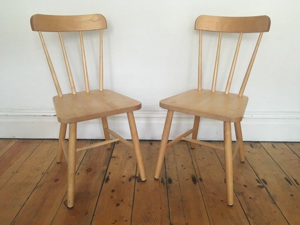 Ikea Olle Scandi Danish Style Wooden Kitchen Dining Chairs