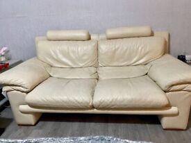 Italian leather 2 and 3 seater plus footstool