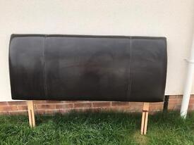 Dark brown leather 5ft (king size) headboard