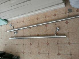 Brushed steel hand rails for stairs with flat end caps