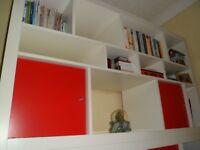 Ikea Kallax Storage Unit 12 compartments - 2 x red cupboards
