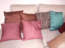 Cushions, cushions , cushions, velvets, silks and linens, scatter around, sofas, beds etc