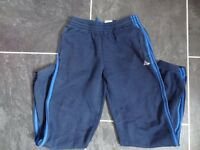 Boys ADIDAS navy/royal blue stripe jersey joggers - Age 15-16