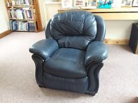 Reclining Armchair in Blue Leather