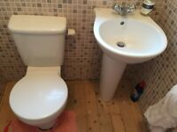 Ideal Standard matching white toilet and pedestal sink