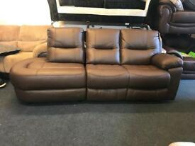 BROWN REAL LEATHER MANUAL RECLINER 4 SEATER SOFA CHAISE END LEFT SIDE FREE DELIVERY