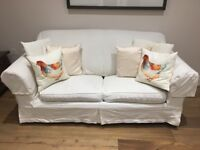 3-2-1 cream sofas w sprung fold out mattress (never used)