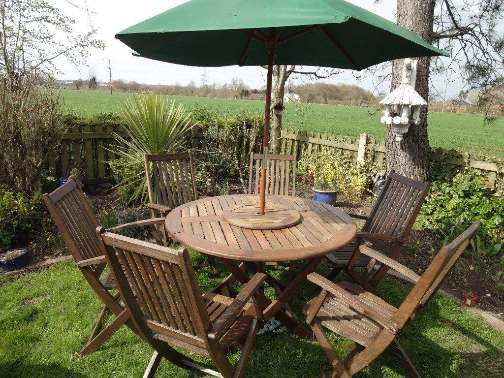 garden set. SOLID TEAK--LARGE GARDEN SET--TABLE +LAZY SUSAN--- Garden Set