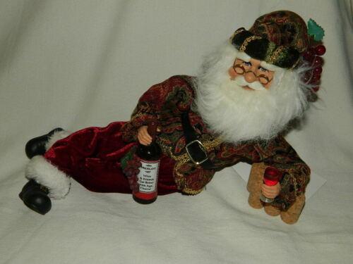 Santa w Merlot Figurine Wine & Friends Get Better w Age Karen Didion Original