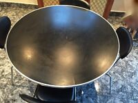 Round black dining table & chairs