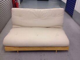 "FUTON COMPANY ""Orlando"" Double Futon Sofa Bed, Cream + Hardwood Base, Sofabed, + I CAN DELIVER"