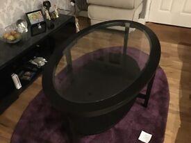 IKEA MALMSTA Black/Brown glass oval coffee table
