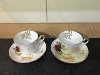 Pair of vintage Ruby Wedding teacups and saucers