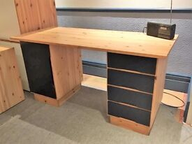 Double pedestal solid pine desk - quality item