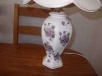 Lovely violet table lamp and shade very good condition