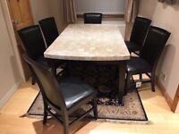 Marble Dining Table with 6 Chairs. Heavy duty solid Granite table