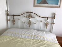 White and brass shabby chic king size headboard