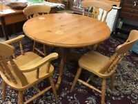 Pine round table and four chairs for sale