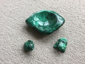 Malachite dish and two matching frogs. Hand carved from Zambia.