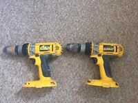2 x Dewalt DW988 cordless drill (one battery included)