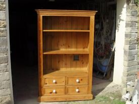 Solid pine bookcase with drawers